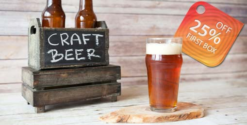craft beer box and glass